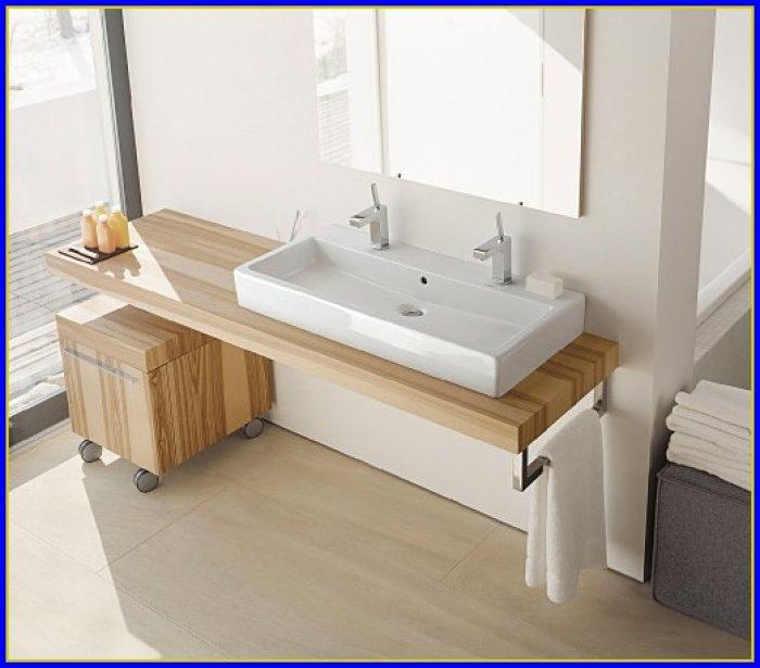 Bathroom Trough Sink Double Faucet