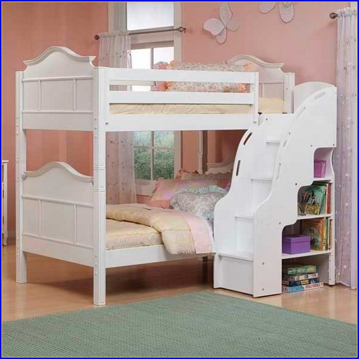 Bunk Bed With Stairs White