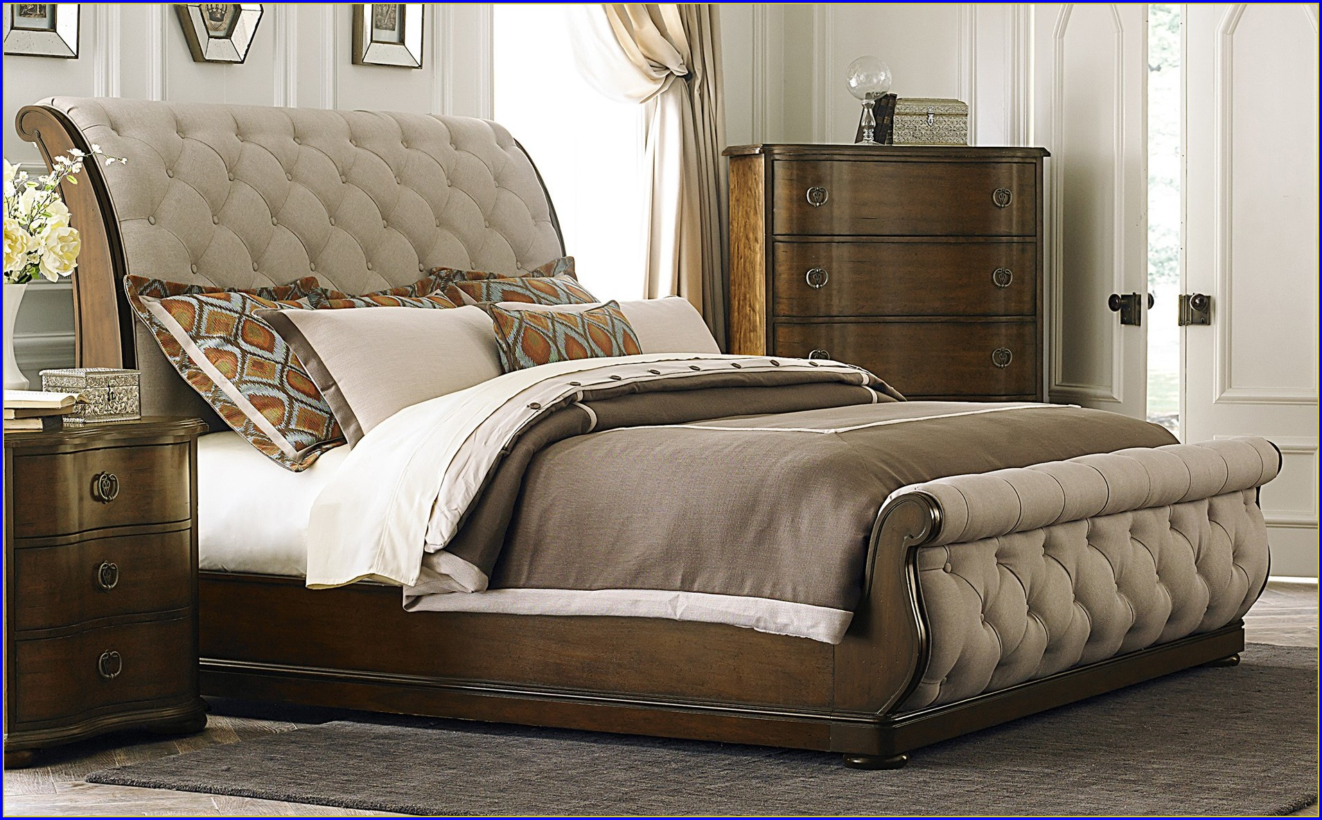 King Sleigh Bed With Leather Headboard Bedroom Home