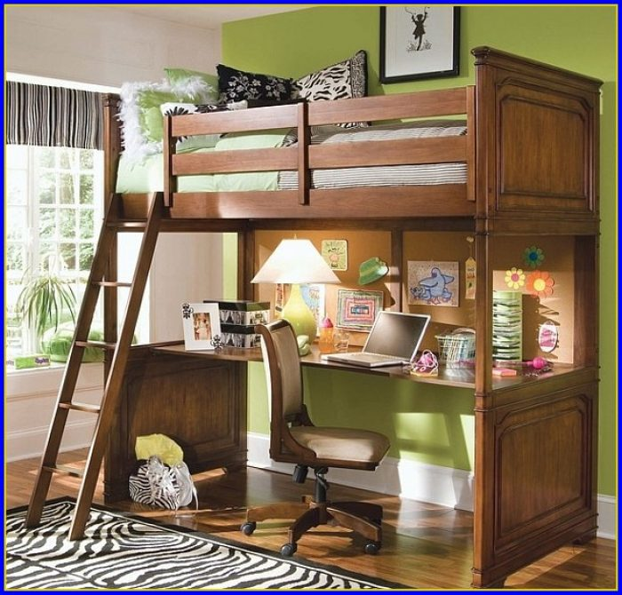 Loft Bed With Desk Underneath And Stairs
