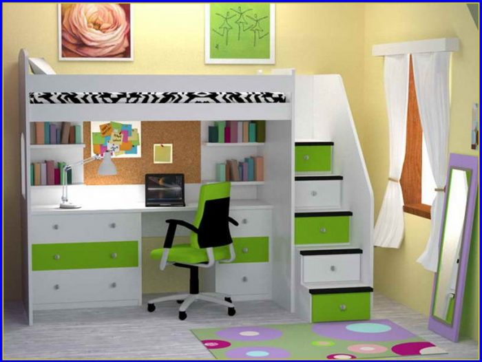 Loft Bed With Desk Underneath Plans