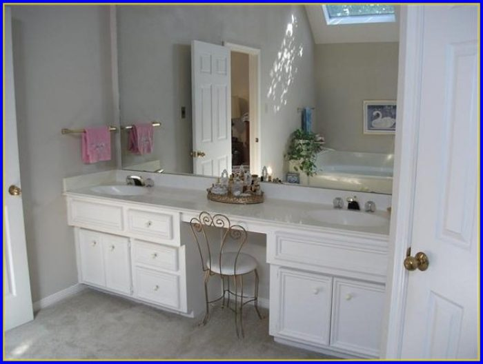 Modern Bathroom Vanity With Makeup Area
