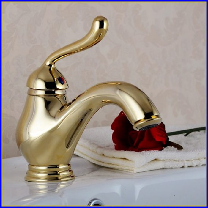Polished Brass Bathroom Faucets Centerset