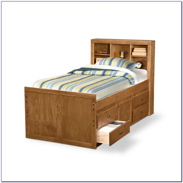 Oak Twin Bed With Drawers Underneath