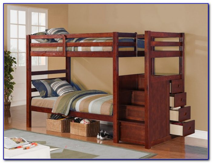 Twin Bunk Beds With Stairs And Desk