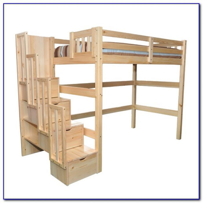 Twin Bunk Beds With Stairs White