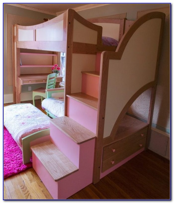 Twin Over Full Bunk Beds With Stairs And Desk