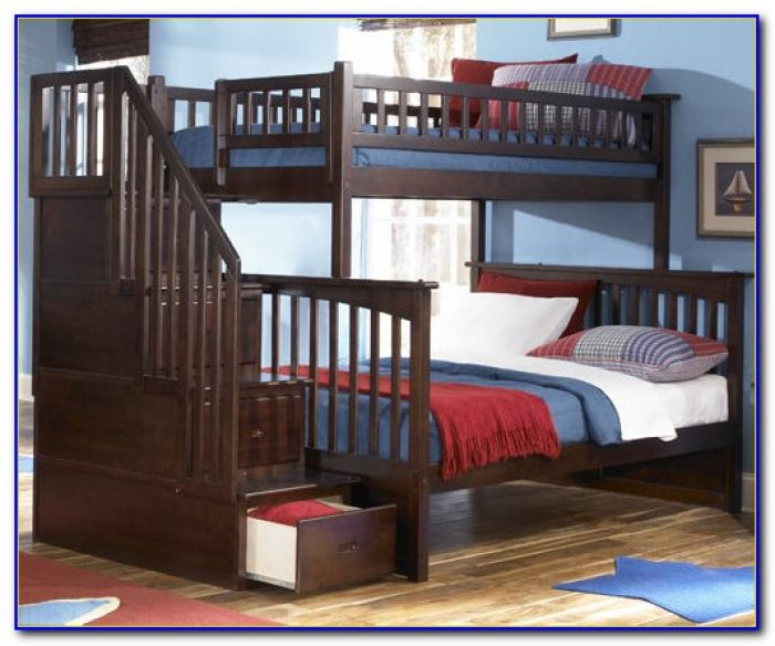 Twin Over Twin Bunk Beds With Stairs And Trundle
