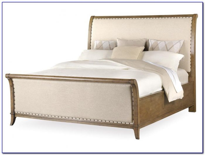 Upholstered Sleigh Bed Linen Weave