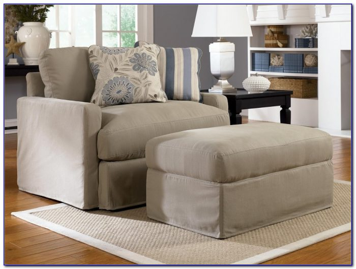 Oversized Chair Slipcover With Ottoman