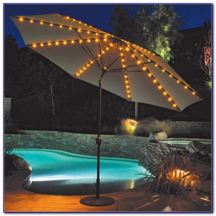 Blue Solar Lighted Patio Umbrella
