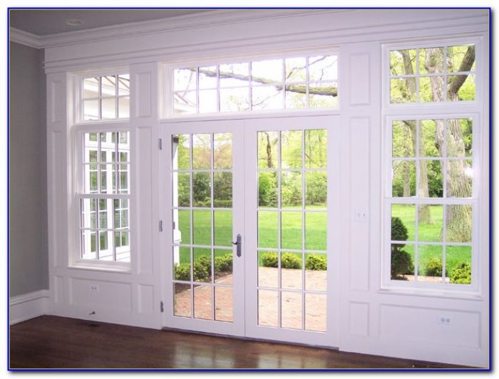 Center Hinged Patio Doors With Blinds