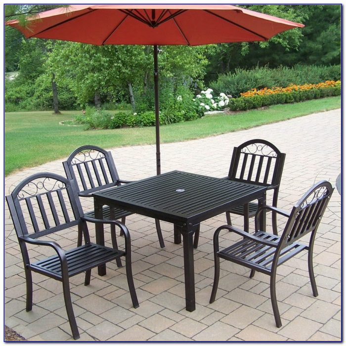 Meadowcraft Wrought Iron 5 Piece Outdoor Patio Set