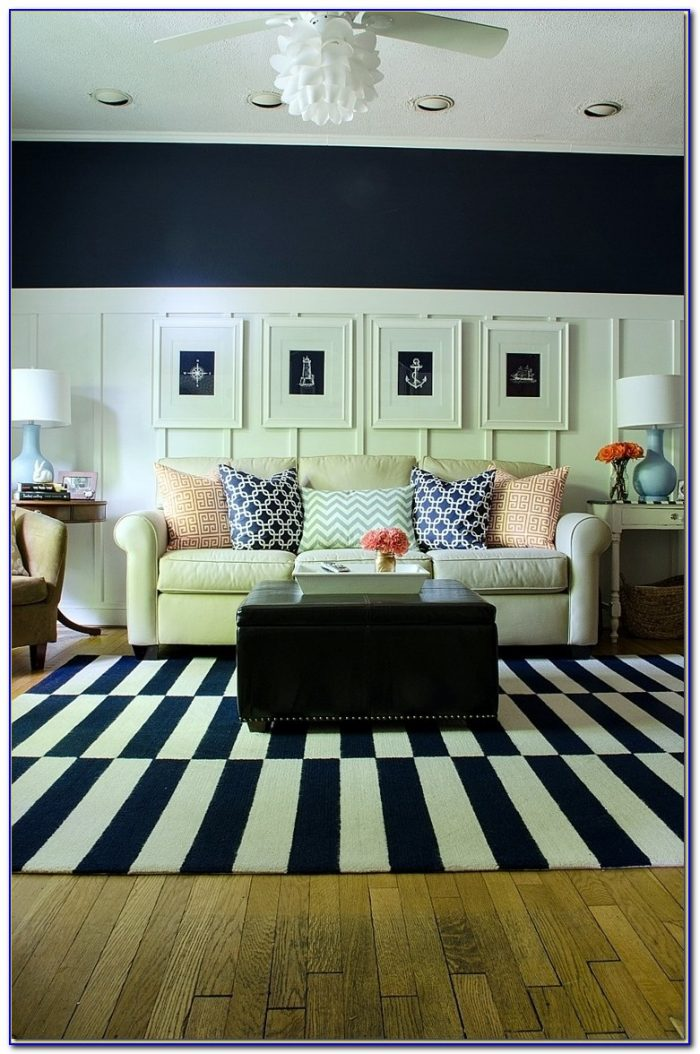 Navy And White Stripe Dhurrie Rug