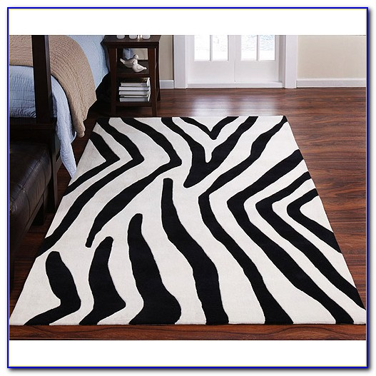 Zebra Print Area Rug 3x5