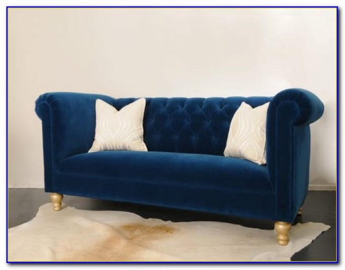 Barrister Blue Velvet Crystal Button Tufted Sofa