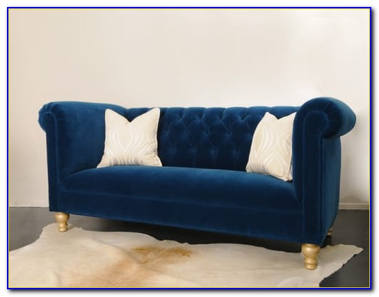Barrister Blue Velvet Crystal Button Tufted Sofa