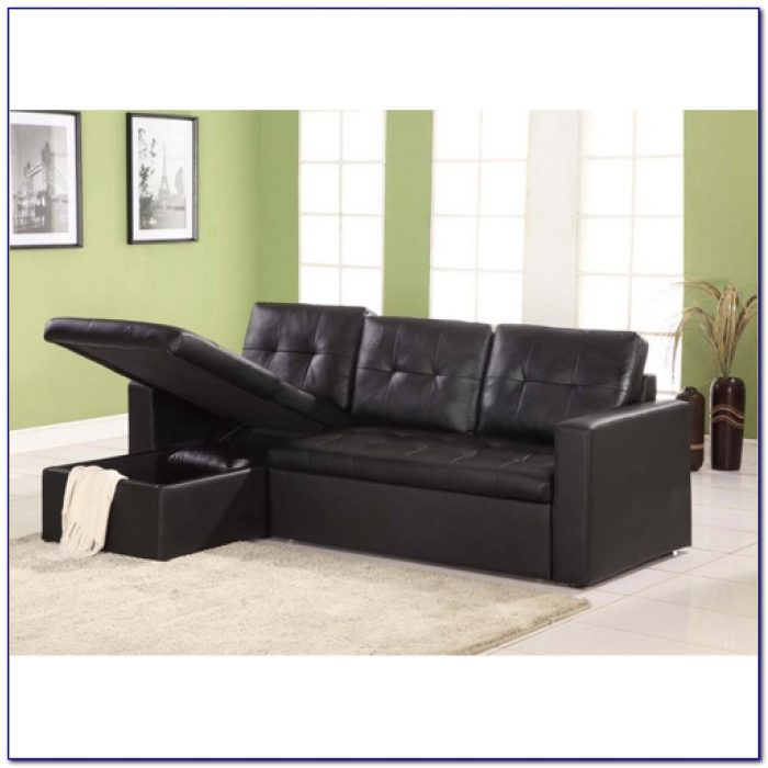Black Leather Futon Sofa Bed