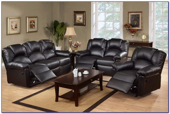 Black Leather Reclining Sofa And Loveseat