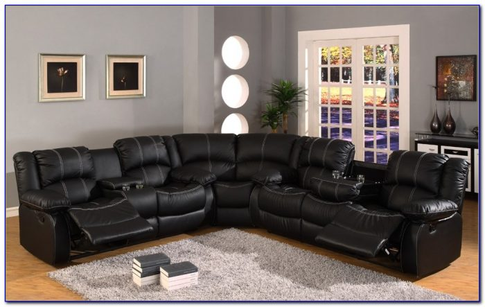 Bonded Leather Sectional Sofa With Recliners
