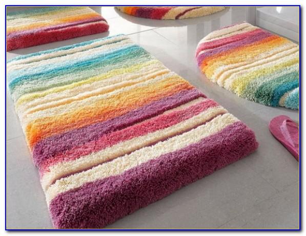 Colorful Striped Bathroom Rugs