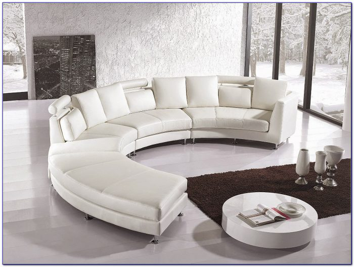 Contemporary Curved Leather Sectional Sofa