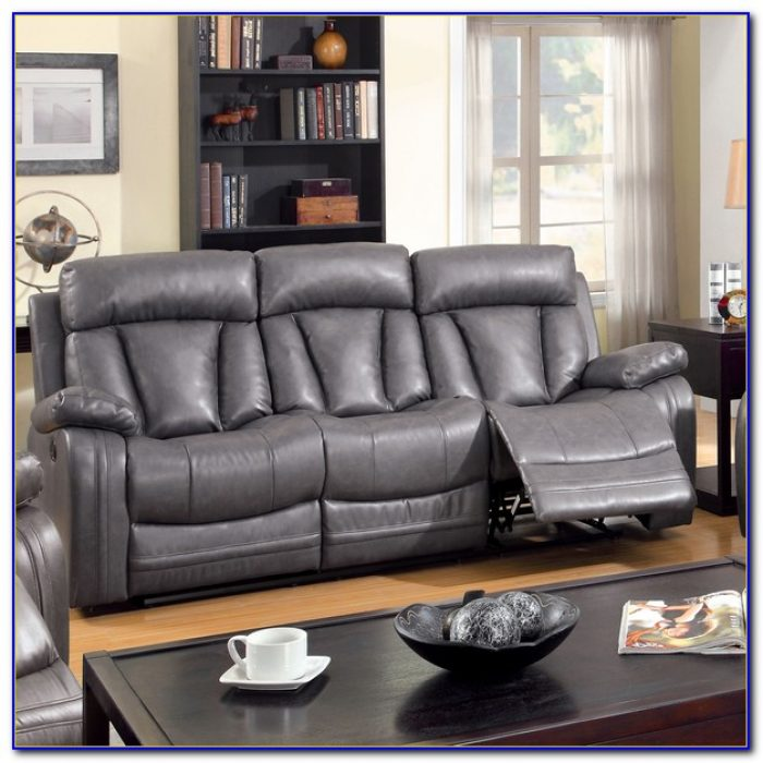 Grey Bonded Leather Reclining Sofa