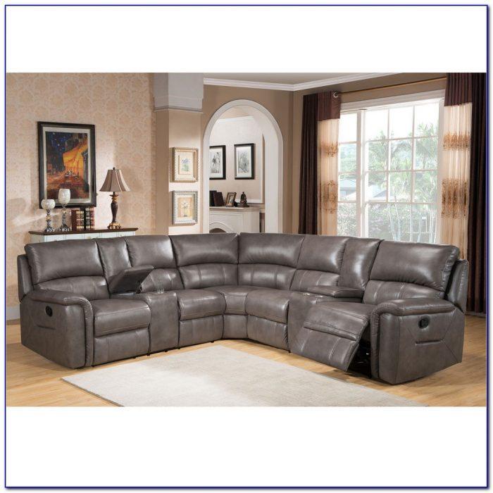 Grey Leather Recliner Corner Sofa