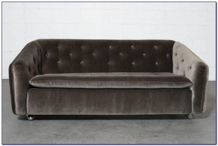 Grey Velvet Tufted Couch