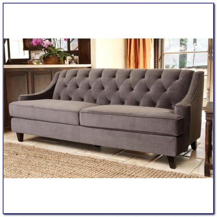 Grey Velvet Tufted Sofa
