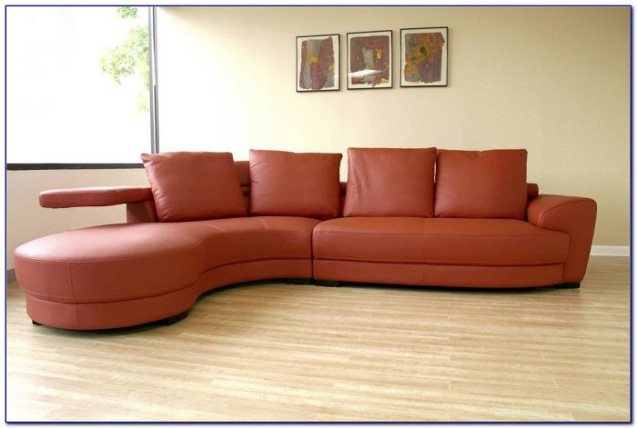 Lyla Leather Curved Sectional Sofa