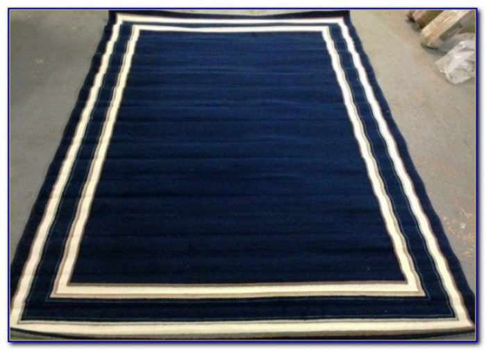 Navy Blue Reversible Bath Rugs