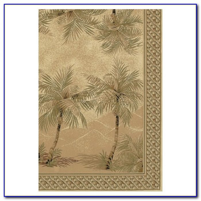 Palm Tree Print Area Rug