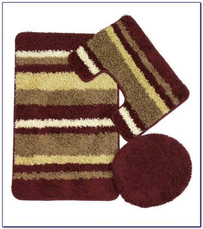 Plush Burgundy Bathroom Rugs