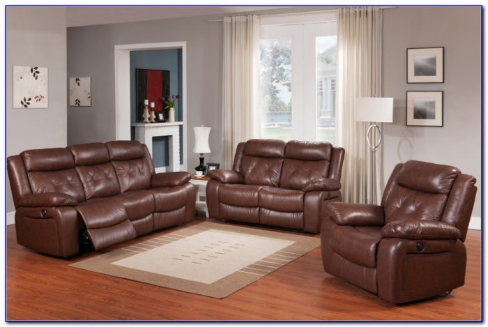 Top Grain Leather Reclining Sofa Set