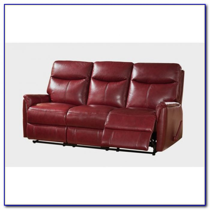 Top Grain Leather Reclining Sofa With Console
