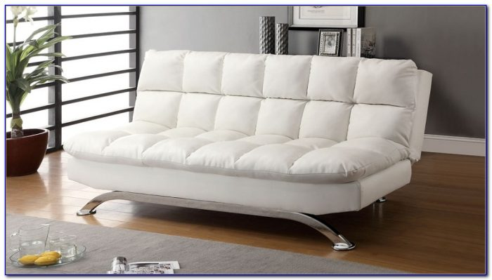White Leather Futon Sofa Bed