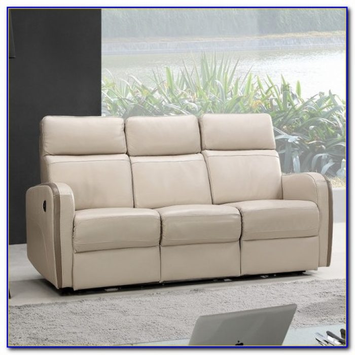 White Leather Reclining Sectional Sofa
