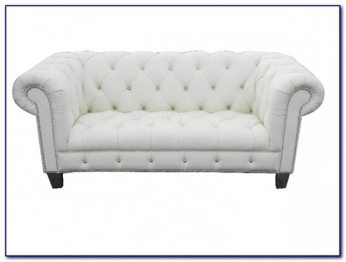 White Tufted Leather Sofa By Baxter