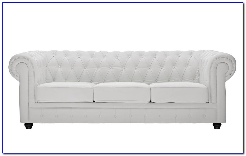 White Tufted Leather Sofa Set