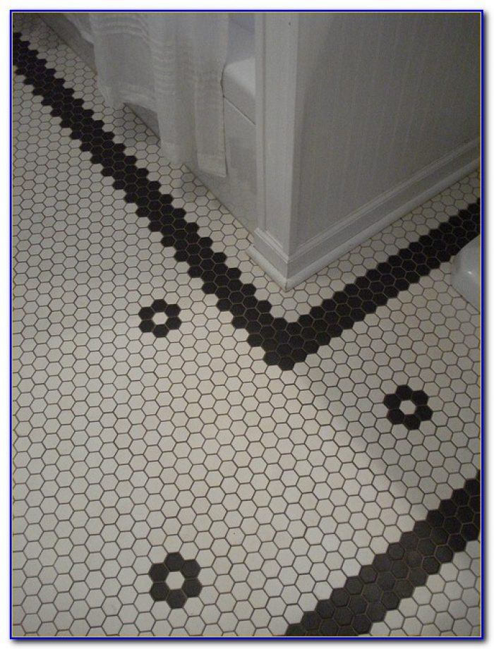 Black Hexagon Bathroom Floor Tile