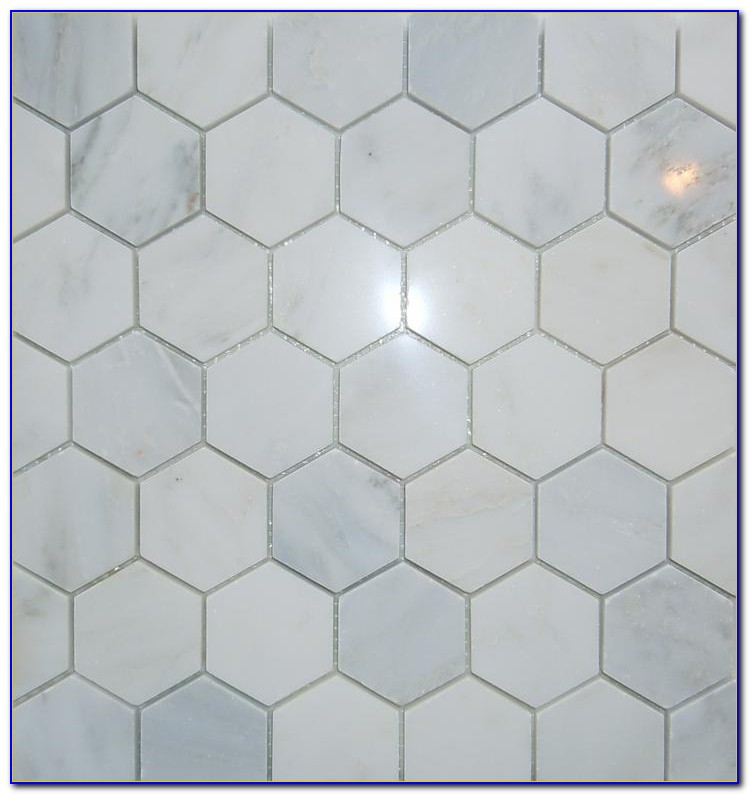 Carrara Marble Hexagon Tile Backsplash