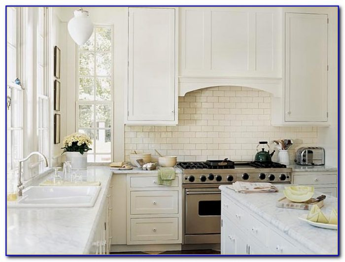 Carrara Marble Subway Tile Kitchen Backsplash