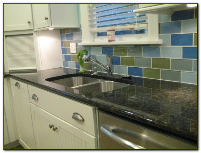 Colored Subway Tile Kitchen Backsplash