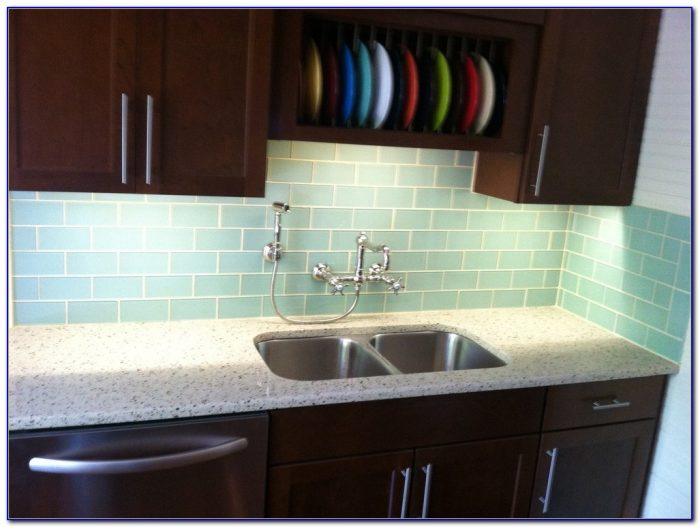 Glass Subway Tile Backsplash Kitchen