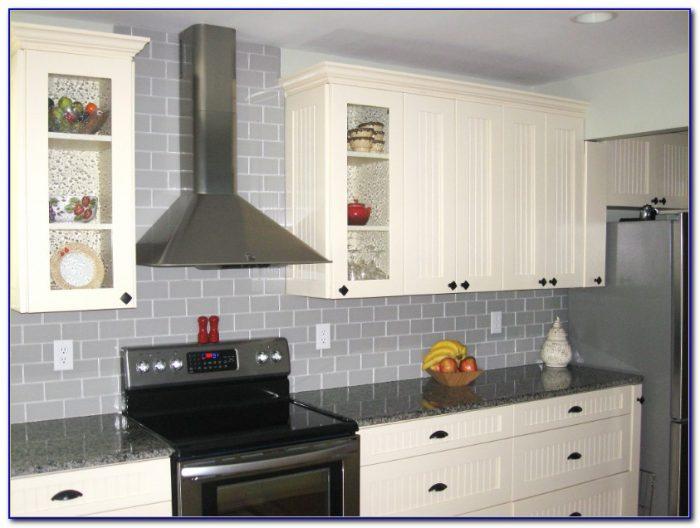 Glass Subway Tile Backsplash White Cabinets