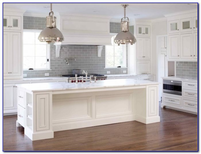 Gray Subway Tile Backsplash Dark Cabinets