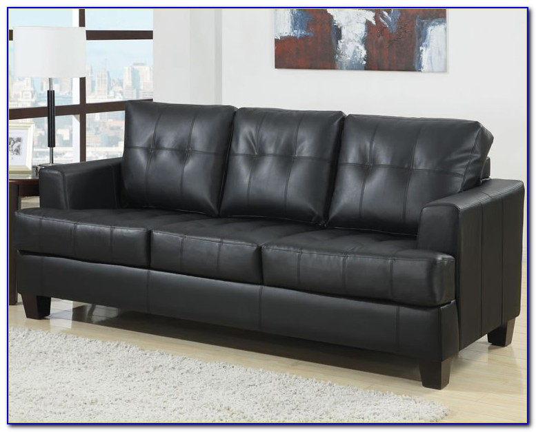 Hancock Tufted Black Italian Leather Sofa And Loveseat