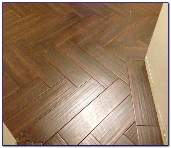 Herringbone Pattern Wood Tile Floor