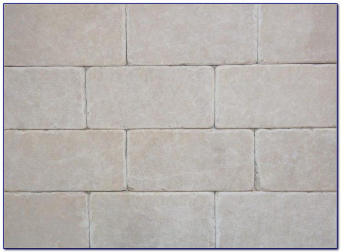 Tumbled Marble Subway Tile Backsplash Pattern